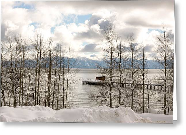 Lake Tahoe In Winter Greeting Card by Denice Breaux