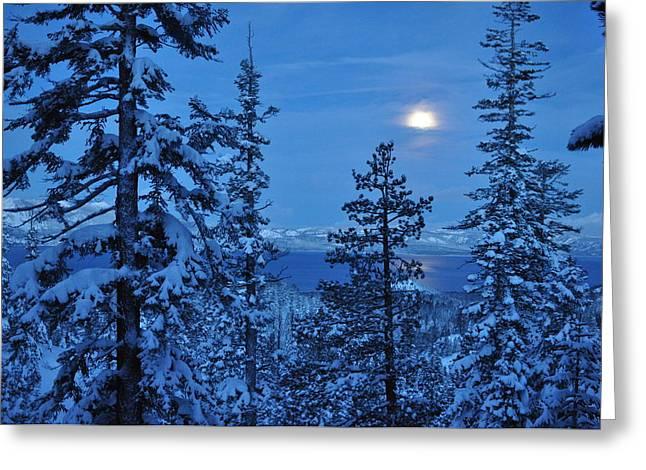 Lake Tahoe Moonset Greeting Card by Bruce Friedman