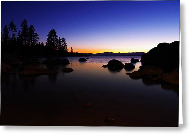 Lake Tahoe Sand Harbor Sunset Silhouette Greeting Card by Scott McGuire