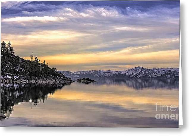 Lake Tahoe Sunrise Greeting Card by Nancy Marie Ricketts