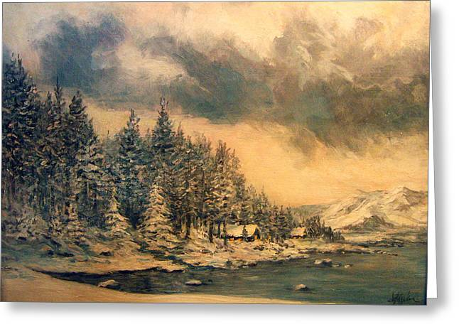 Greeting Card featuring the painting Lake Tahoe Winter Colors 2 by Donna Tucker