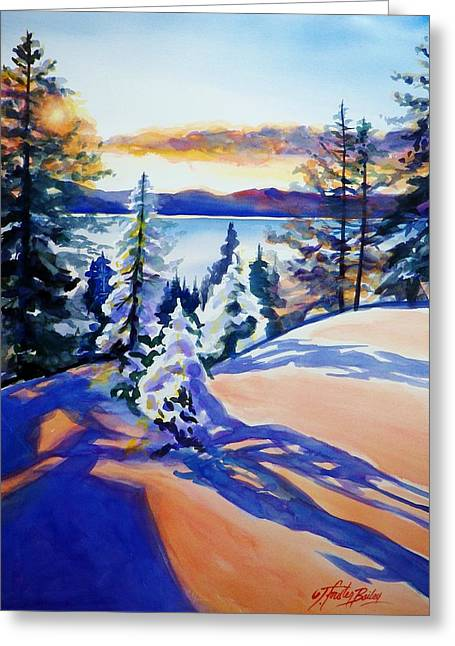 Lake Tahoe Winter Glow Sold  Greeting Card