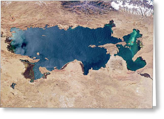 Lake Titicaca From Space Greeting Card by Nasa