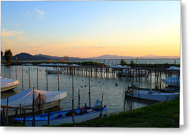Lake Trasimeno Marina Greeting Card by Saya Studios