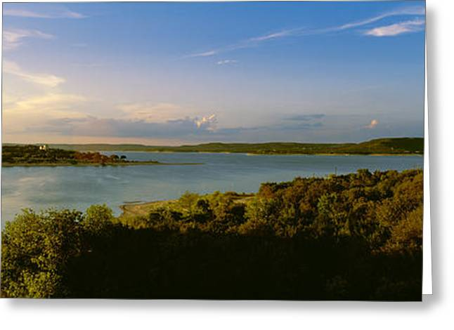 Lake Travis At Dusk, Austin, Texas, Usa Greeting Card by Panoramic Images