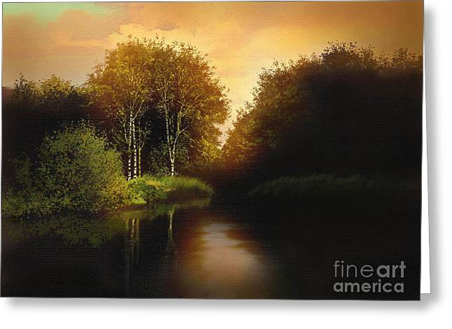 Lake Trees Greeting Card by Robert Foster