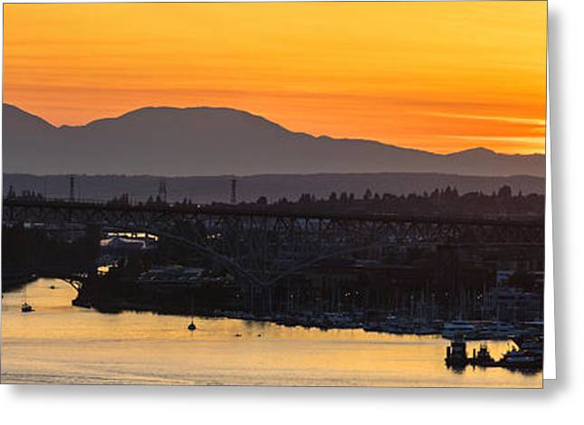 Lake Union Cascades Mountains Sunset Glow Greeting Card by Mike Reid