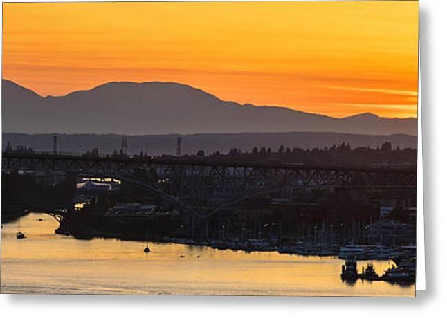 Lake Union Cascades Mountains Sunset Glow Greeting Card