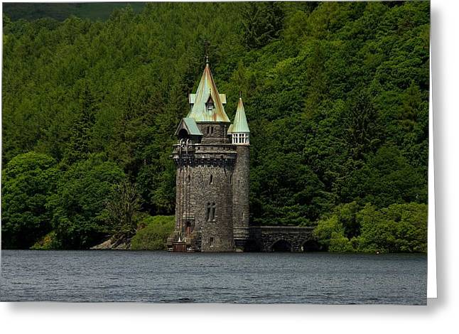 Greeting Card featuring the photograph Lake Vyrnwy Straining Tower by Stephen Taylor