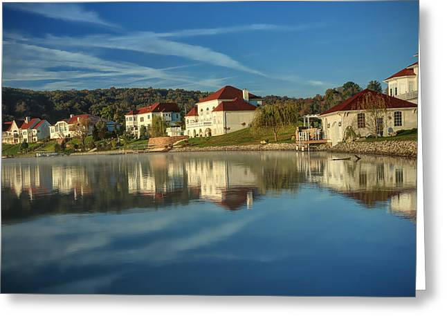 Lake White Morning Greeting Card by Jaki Miller