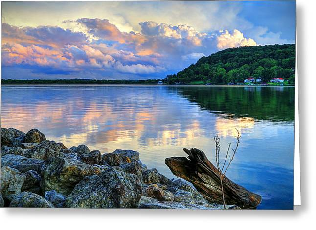 Lake White Sundown Greeting Card by Jaki Miller