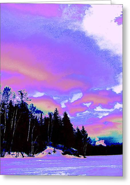 Winter  Snow Sky  Greeting Card by Expressionistart studio Priscilla Batzell