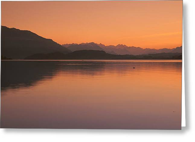 Lake Zug In The Evening Mt Rigi & Mt Greeting Card by Panoramic Images