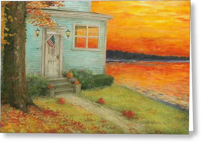 Lakehouse Fall Nocturne Greeting Card
