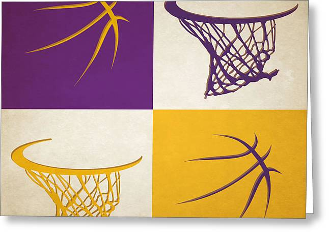 Lakers Ball And Hoop Greeting Card by Joe Hamilton