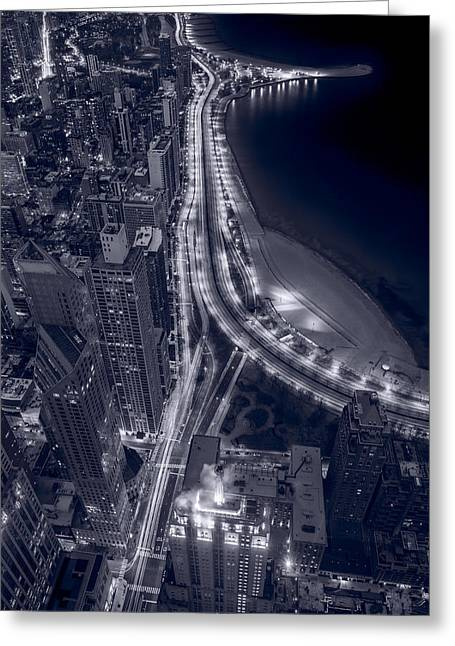 Lakeshore Drive Aloft Bw Cool Toned Greeting Card