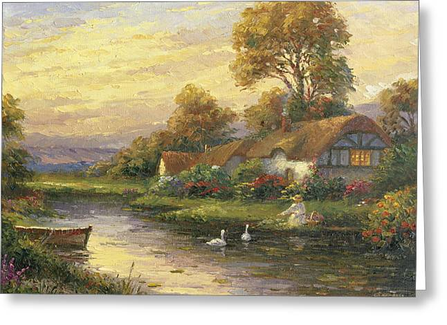 Lakeside Cottage Greeting Card by Ghambaro