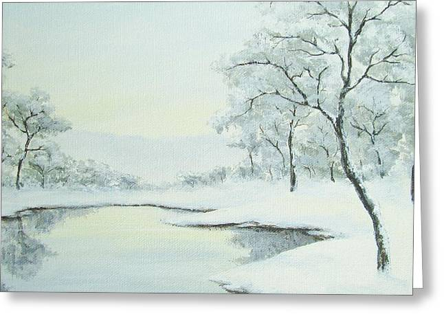 Lakeside In Winter Greeting Card by Anna Bronwyn Foley