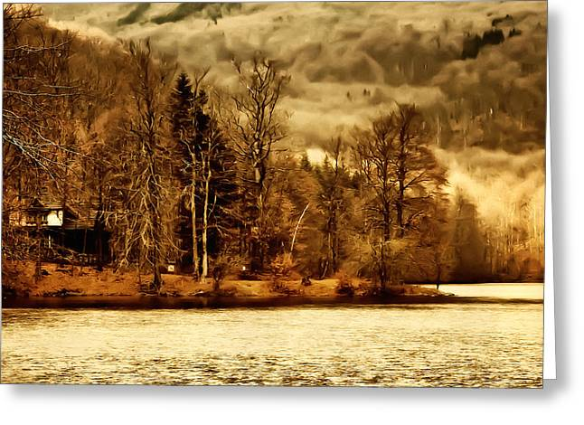 Lakeside Log Cabin Greeting Card by Roman Solar