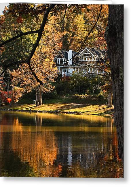 Lakeside Reflects... Greeting Card by Tammy Schneider