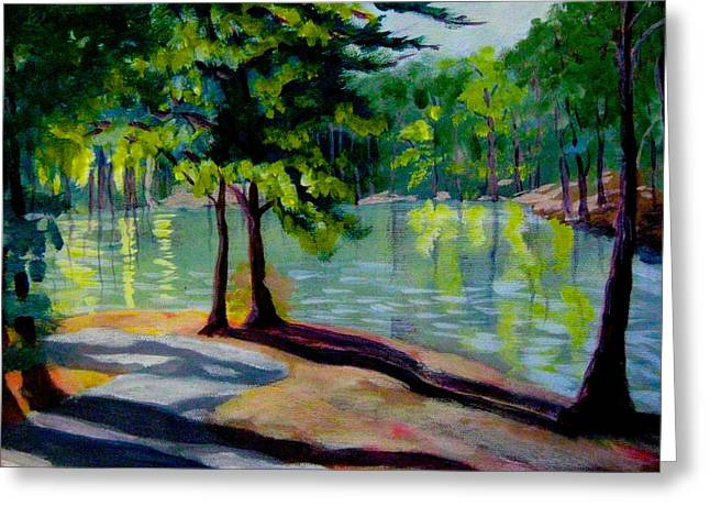 Lakeside Trail Enhanced Greeting Card by Gretchen Allen