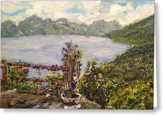 Greeting Card featuring the painting Lakeview by Belinda Low