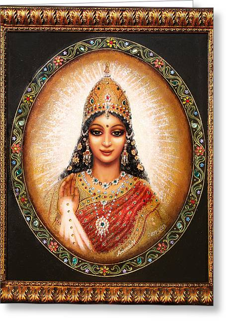 Greeting Card featuring the painting Lakshmi Goddess Of Abundance by Ananda Vdovic