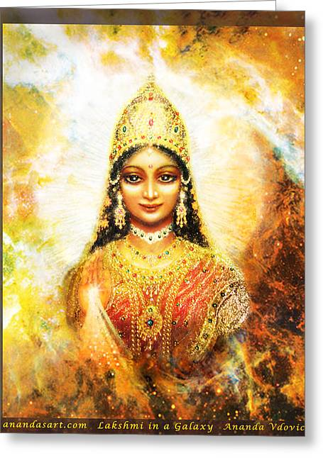 Greeting Card featuring the mixed media Lakshmi Goddess Of Abundance In A Galaxy by Ananda Vdovic