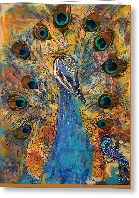Lakshmi Peacock Greeting Card by Sally Clark