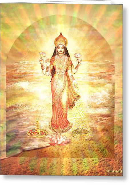 Lakshmis Birth From The Milk Ocean Greeting Card
