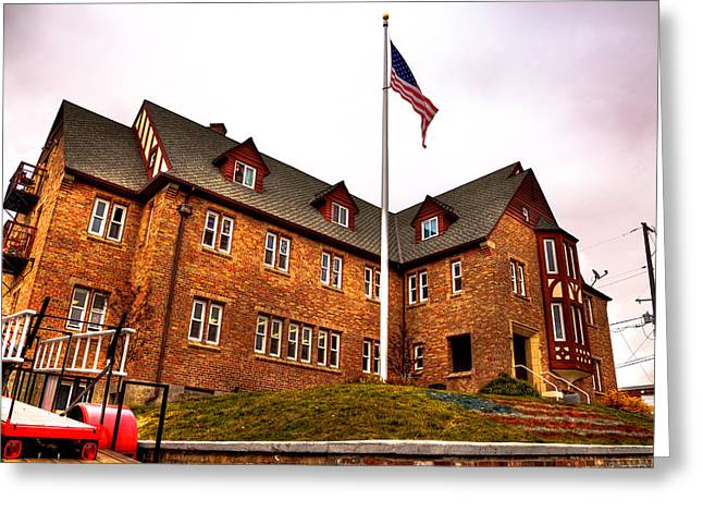 Lambda Chi Alpha Fraternity On The Wsu Campus Greeting Card by David Patterson