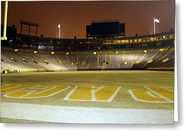 Lambeau Dreaming Greeting Card by Megan Genova