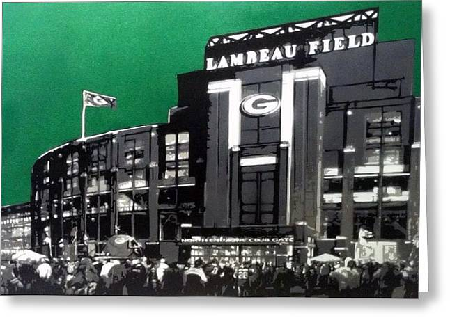 Lambeau Field  Greeting Card by Mark  Burns