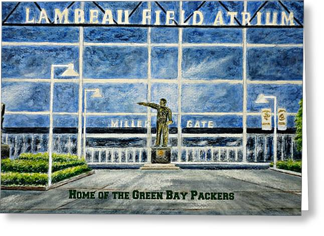 Greeting Card featuring the painting Lambeau by Thomas Kuchenbecker