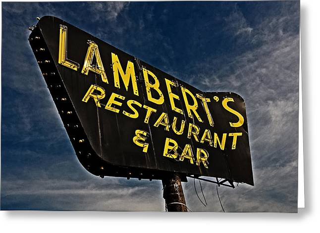 Greeting Card featuring the photograph Lambert's Restaurant And Bar by Andy Crawford