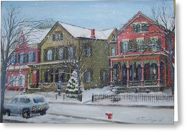 Greeting Card featuring the painting Lambertville In The Snow by Oz Freedgood