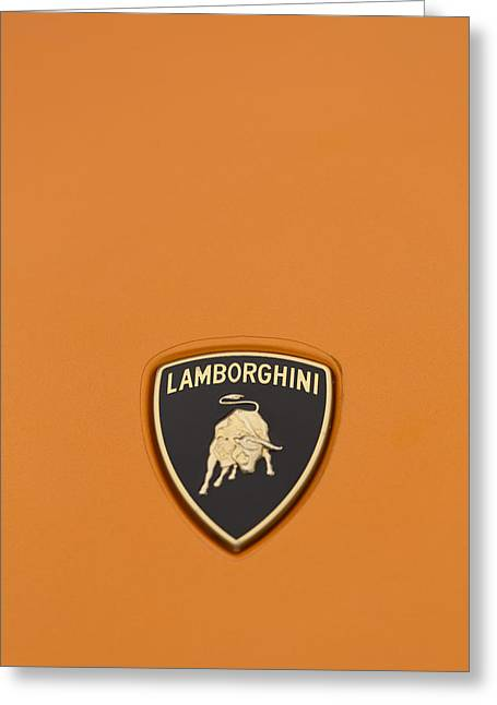 Lambo Hood Ornament Orange Greeting Card by Scott Campbell