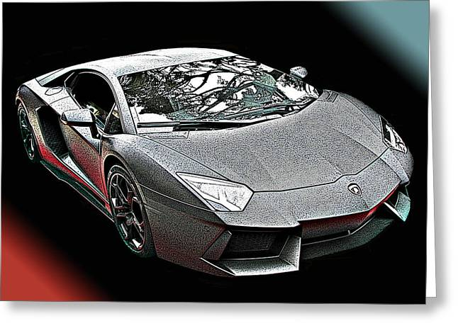 Lamborghini Aventador In Matte Black Finish Greeting Card