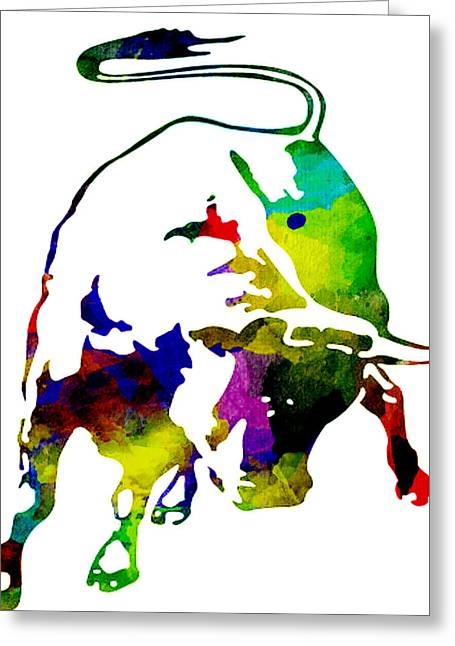Lamborghini Bull Emblem Colorful Abstract. Greeting Card
