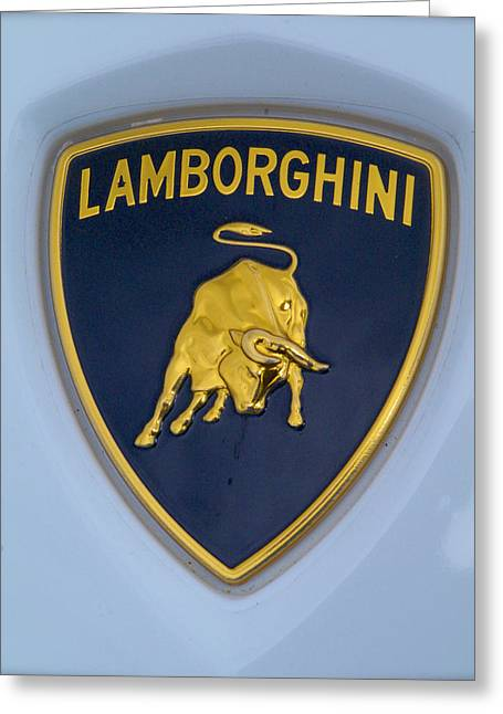 Lamborghini Car Badge Greeting Card by John Colley