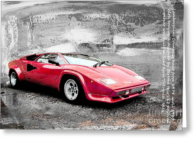 Lamborghini Countach Greeting Card by Roger Lighterness