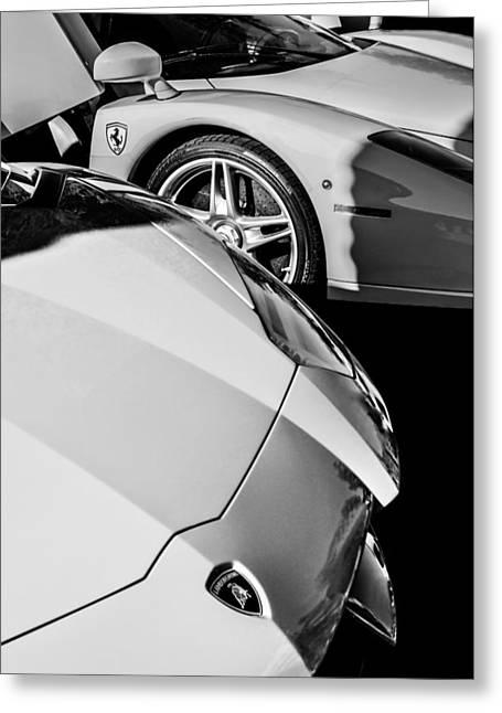 Lamborghini - Ferrari Front Ends -0160bw Greeting Card