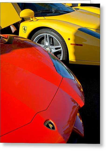 Lamborghini - Ferrari Front Ends -0160c Greeting Card