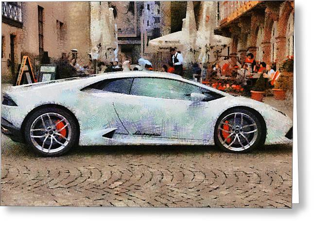 Lamborghini Huracane Lp 610-4 Parked In The City Greeting Card