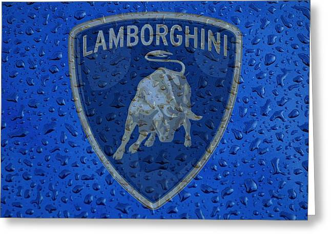 Lamborghini Rainy Window Visual Art Greeting Card by Movie Poster Prints