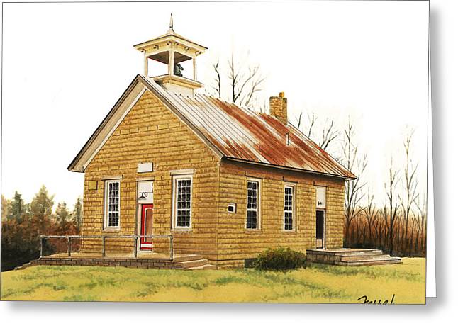 Greeting Card featuring the painting Lambson School by Ferrel Cordle