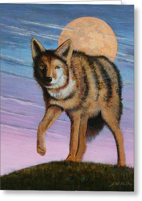 Lame Coyote Greeting Card by J W Kelly