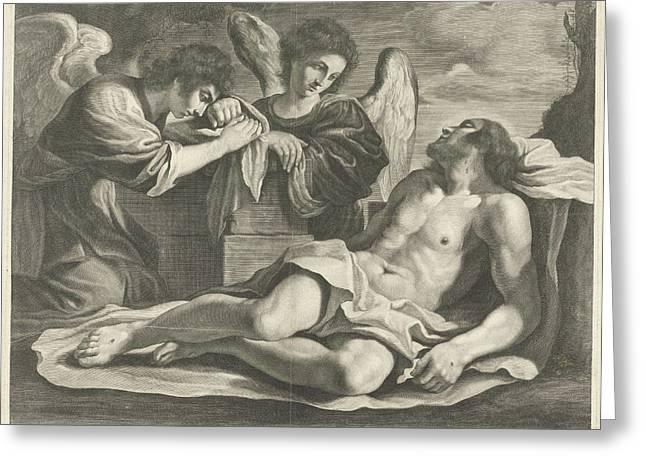 Lamentation Of Christ By Angels, Nicolas Pitau Greeting Card by Nicolas Pitau (i) And Jacques Van Merle