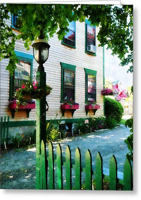 Lamp And Window Boxes Greeting Card by Susan Savad