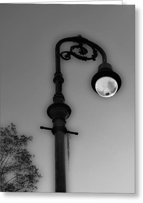 Greeting Card featuring the photograph Savannah Lamp Post by Frank Bright